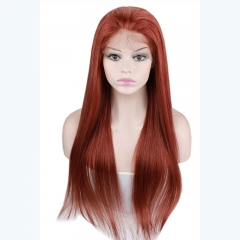New Beautiful Human Hair Full Lace Front Wig 35# Color Wig Silky Straight Brazilian Remy Hair For Women