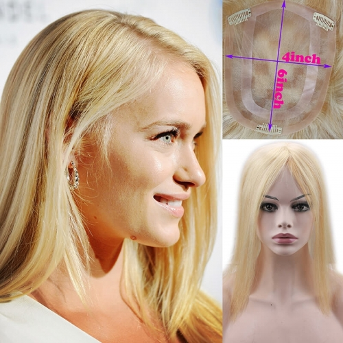 Hairpiece 27/613 Highlight Color Silky Straight 4x6 Top Hairpiece for White Women Free Style 14 inch In Stock