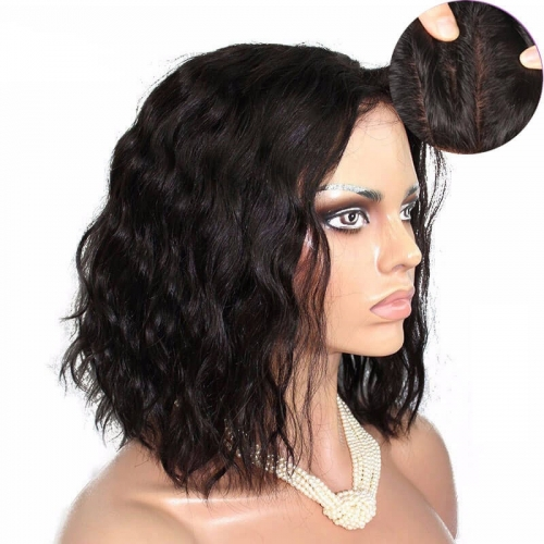 Silk Top Full Lace Wigs Hidden Knots Cute Loose Wave Short Wig Gluelesshuman Hair With Baby Hair For Black Women