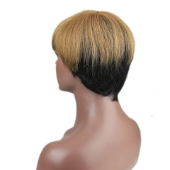 Eseewigs Virgin Brazilian Human Hair Silk Straight Gluess Short Wigs Two Tone Golden Brown Black Color for Black Women