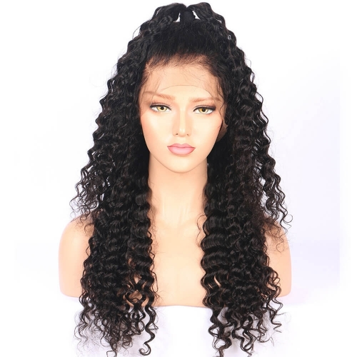 Silk Top Glueless Full Lace Wigs Hidden Knots Deep Curly Human Hair Wigs Human Hair Wigs Natural Hair Line Stock