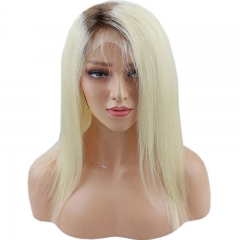 4T613# Ombre Blonde Lace Front Wig Silky Straight Hair Real Human Hair Bleacked Knots Free Style