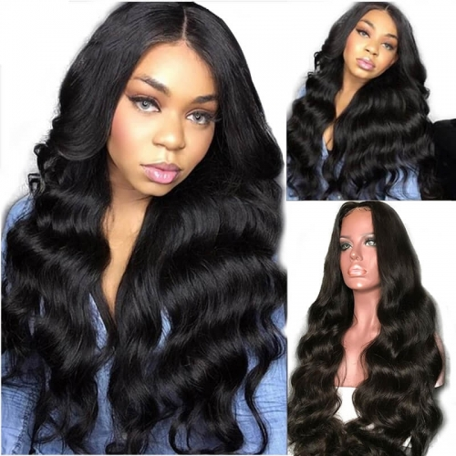 Discount Lace Front Wigs 300% High Density Brazilian Remy Human Hair Body Wave With Baby Hair Around Cap Middle Part Pre-Plucked Hairline