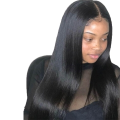 Affordable Full Lace Wigs With Baby Hair Brazilian Natural Straight 100% Virgin Human Hair Swiss Lace With Bleached Knots Natural Hairline