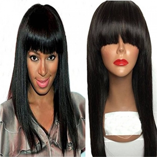 Human Hair Wig with Bangs 150 High Density Remy Lace Front Human Hair Wigs Long Silky Straight  Full Lace Frontal Wigs for Black Women Pre Pluck
