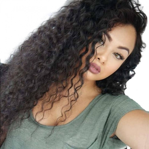 Deep Curly Brazilian Full Lace Wig With Baby Hair Brazilian Remy Human Hair Wigs Natural Color 130% Density