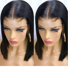 8A Unprocessed Remy Layered Human Hair Short Bob Wig 13X6 For Black Women Glueless Lace Front Human Hair Bob Wig Baby Hair Side Bangs