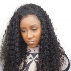 Cheap Full Head Lace Wig 130% Density Deep Wave Natural Color 1B Virgin Brazilian Human Hair Glueless