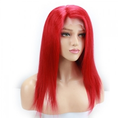 Beautiful Red Color Peruvian Real Human Hair with Baby Hair Silky Straight Full Lace Front Wig