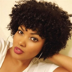 Short Kinky Curly Human Hair Wigs 100% Human Hair Wig Natural Looking Short Afro Kinky Curly Wigs for Black Women (Brown)