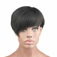 short human hair wig 100% brazilian hair straight Short wig Machine made glueless  human hair wig in stock