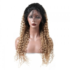 1B/27 Ombre Blonde Full Lace wig Lace front wig Body Wave Brazilian Virgin Human Hair with Baby Hair Natural Hairline Bleached Knots