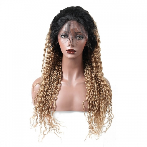 1B/27 Ombre Blonde Full Lace Front Wig Deep Wave Brazilian Virgin Human Hair with Baby Hair Natural Hairline Bleached Knots