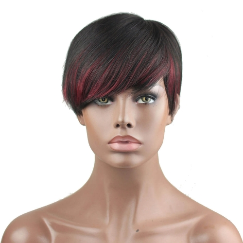 Eseewigs 7A Brazilian Human Hair None Lace Short Wigs 1B Highlight 99J For African Americans Machine Made Glueless Full Wig