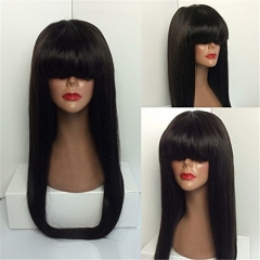 Human Hair Wig with Bangs 150 High Density Virgin Lace Front Human Hair Wigs Long Silky Straight 13x6 Full Lace Frontal Wigs for Black Women Pre Pluck