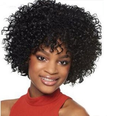 Short Kinky Curly Wig Real Human Hair Afro Curly Wigs Black Color Natural Looking For Women