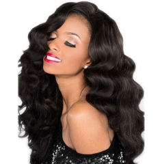 Body Wave Whole Lace Wig Human Hair Full Lace Wigs with Baby Hair for Black Women Natural Color