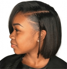 Lace Front Wig Deep Part 4.5 inch In Stock Bob Style Lace Wig Silky Straight Human Hair