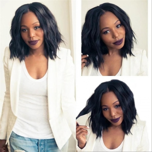Bob Wavy Glueless Full Lace Remy Brazilian Hair Wigs for Black Women 13X6 Frontal Cheap Lace Front Bob Wave Human Hair Wigs