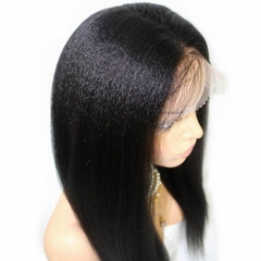 Hotsale Yaki Straight Gluesless Full Lace Wig 100% Brazilian Hair Human Hair Wigs Density 130% 2# Color Stock