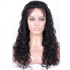 Loose Curly Brazilian Human Hair Full Lace Wig Natural Color 130 Density Pre Plucked 32 inchs