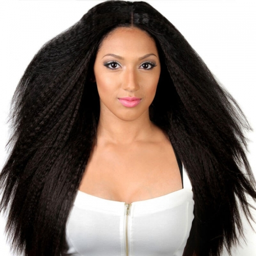 Glueless Silk Top Full Lace Wigs Kinky Straight  Human Hair Wigs For Black Women