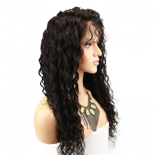 180% Density 360 lace Wig Water Wave Brazilian Virgin Hair Wigs With Baby Hair Pre-Plucked Knots