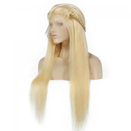 613 Full Blonde Glueless Lace Front Wigs Full Lace Wig Straight Human Hair Wig With Baby Hair