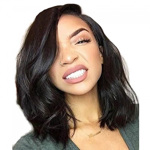 8a Brazilian Remy Human Hair Lace Front Wig Glueless Short Bob Wavy with Baby Hair for Black Women