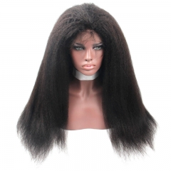 7A Brazilian 300 Density Kinky Straight Lace Front Wig Full Lace Human Hair Wigs For Black Women