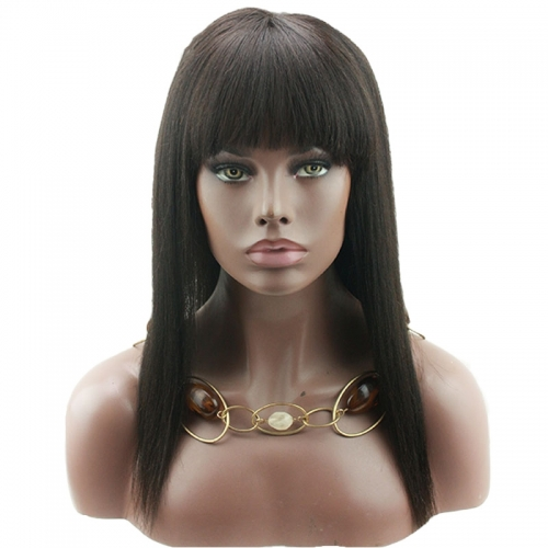 Lace Front Wig With Bangs Light Yaki Straight Brazilian Human Hair For Black Women