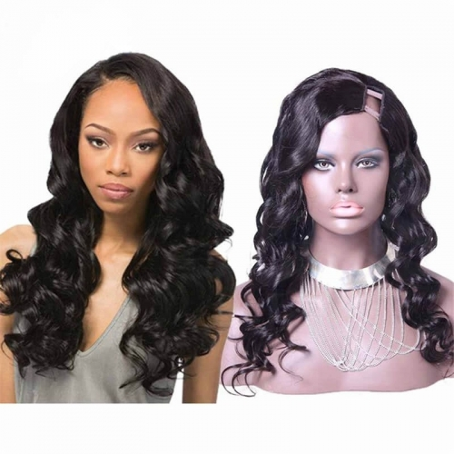 African American U Part Wigs Loose Wavy Brazilian Virgin Human Hair You Part Wig 8-24 in stock