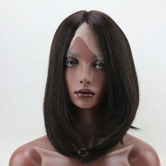 Short  Bob Wig Silky Straight 150% High Density With Brazilian Human Hair Natural Color For Woman Lace Front Wig
