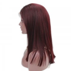 Lace Front Wig Burgundy Color Peruvian Human Hair 99J Real Human Hair Silky Straight Lace Wig Baby Hair with Natural Hairline