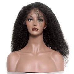 Afro Kinky Curly Peruvian Virgin Hair 250% Density Full Lace Wigs with Baby Hair Glueless Lace Front Human Hair Wig