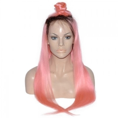 Ombre 1B Pink Color Full Lace Wig Real Human Hair Silky Straight 130% Density with Hair Natural Hairline