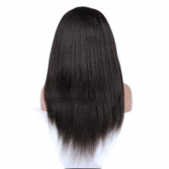 Hair Brazilian Kinky Straight Glueless Full Lace Wig 100%Virgin Human Hair Swiss Lace With Bleached Knots Natural Hairline