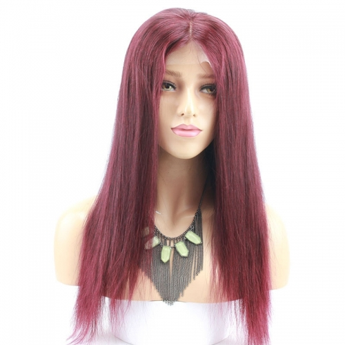 Burgundy Color 99J Straight Full Human Hair Wigs for Black Women Cheap Long Red Wigs