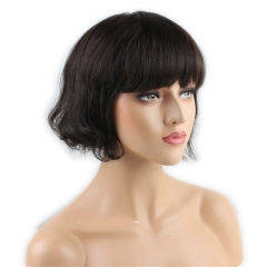 Short Human Hair Wigs with Bangs Brazilian Human Hair Short Bob Wig for Women (Color:Brown)