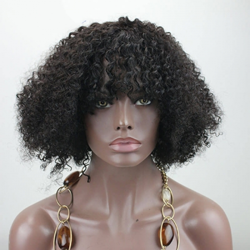 Short Afro Kinky Curly 260 High Density 100 Brazilian Human Hair 14 inch None Lace Wig with Bangs