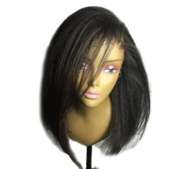 Yaki Straight Wig Short Human Hair Bob Lace Front Wigs Black Women Brazilian Remy Lace Wigs Pre Plucked Bleacked Knots