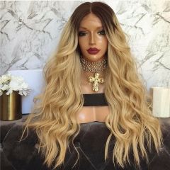1B/27 Blonde with Dark Roots Ombre Lace Front Wig Body Wave Blonde 150 Density Wig for Black Women Baby Hair