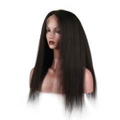 250% Density Wigs Kinky Straight Natural Hair Line for Black Women Pre-Plucked Glueless Full Lace Front Wigs