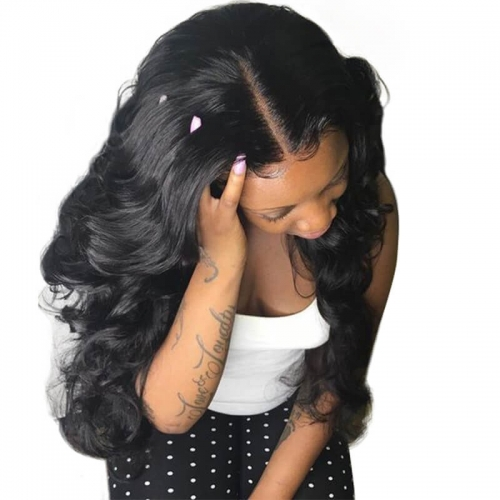 Body Wave Glueless Full Lace Wigs Human Hair 13x6 Deep Part Lace Front Wig with Baby Hair Natural Black Color Bleached Knots