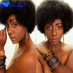 Short  Afro Kinky Curly  Wigs Human Hair Brazilian Human Hair None Lace Full Wig For Women