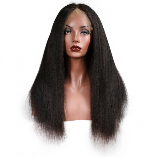 250% Density Wigs Kinky Straight Glueless Lace Front Ponytail Wigs Pre-Plucked Natural Hair Line for Black Women