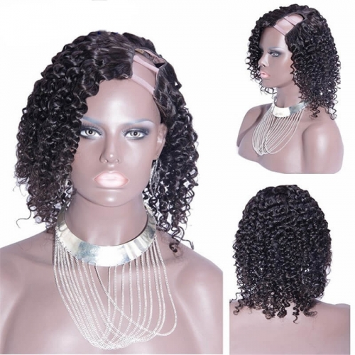 Kinky Curly Malaysian Virgin Remy Human Hair U Part Wigs Uk 8-24 in stock