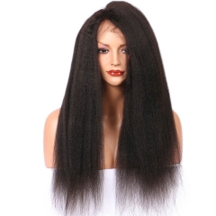 360 Lace Wigs 180% Density Kinky Straight Full Lace Human Hair Wigs With Natura Hairline