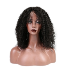 150% Density Glueless Human Hair Indian Remy Hair Lace Front Wig Afro Kinky Curly Lace Wig 1B Color