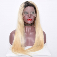 #1B 613 Ombre Blonde Dark Roots Full Lace wig Lace front wig Silky Straight Virgin Hair with Baby Hair Natural Hairline